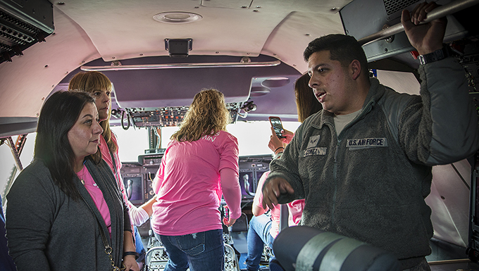Air Force Wing Moms tour Alamo Wing